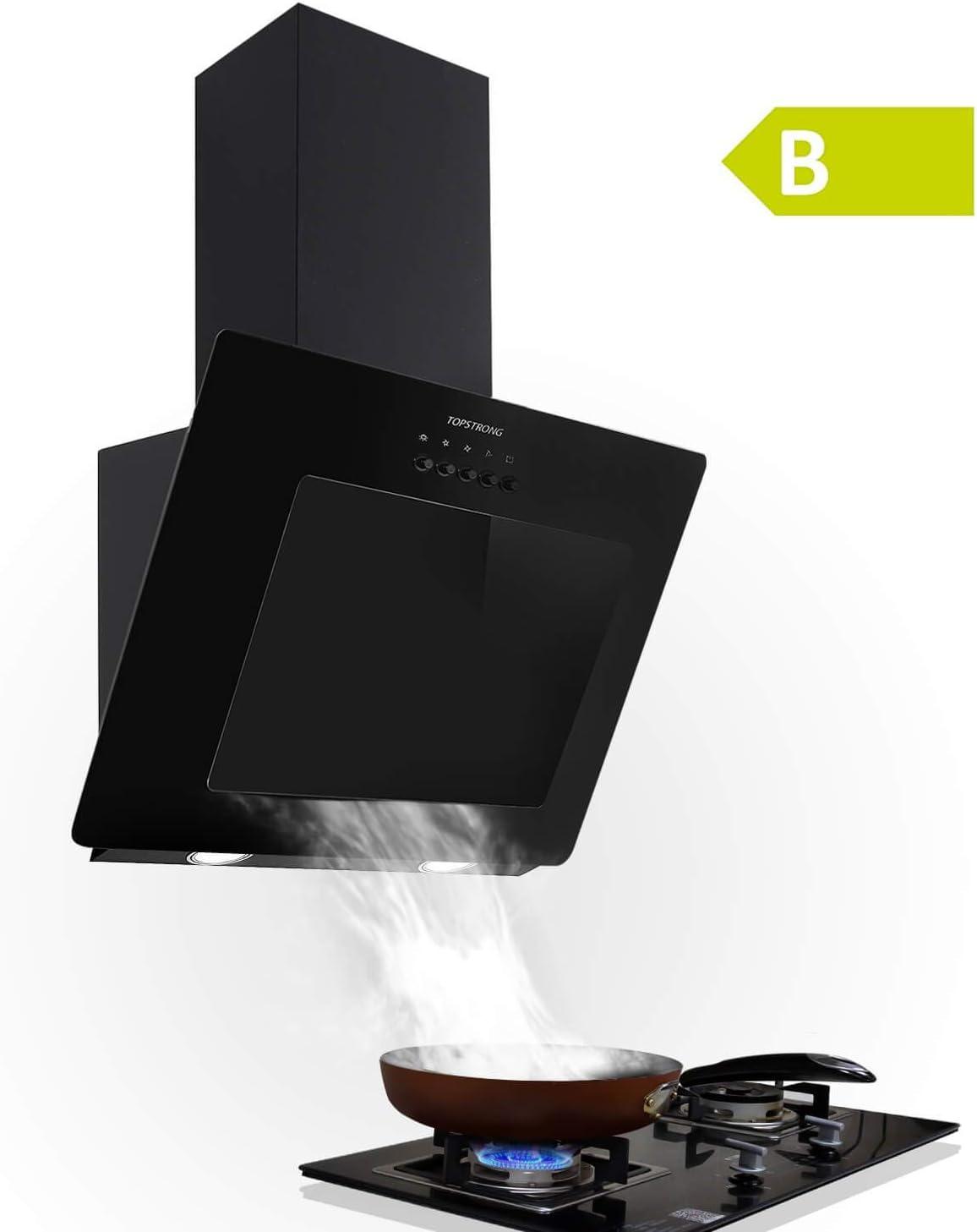 Campana extractora de 60 cm, sin cabezal, campana extractora de pared de 350 m3/h, vidrio templado, salida de aire de cocina de acero inoxidable, 3 niveles de potencia, botón de presión, iluminación