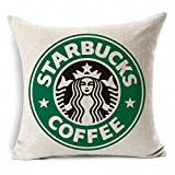 E-sunshine Cotton Blend Linen Square Throw Pillow Cover Decorative Cushion Case Pillow Case 18 X 18 Inches / 45 X 45 cm, Starbucks Coffee (green)
