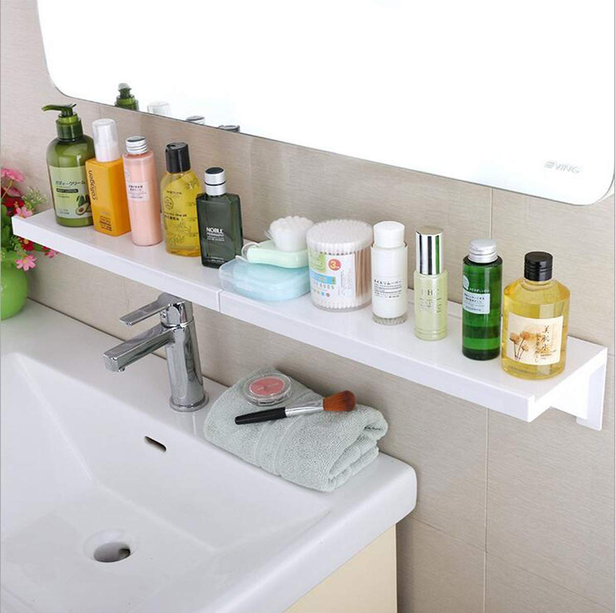 GIGRIN Shower Caddy Organizer Wall Mount, White Easy to Install Bathroom Storage Shelf, Stick for Long Self Adhesive Plastic Bathroom Caddy for Shampoos, Body Washes, Facial Cleansers and More