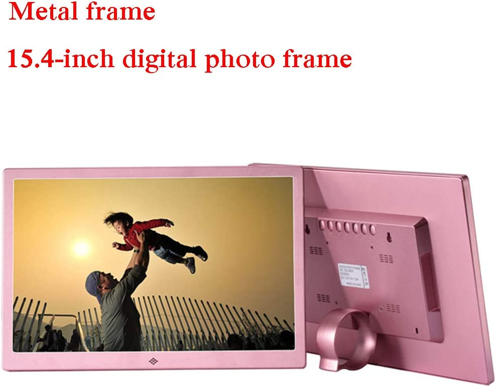 Remote Control,Pink USB and SD Card Slots Video//Music//Calendar//Clock//E-Book Player YP 15.4 Inch Digital Photo Frame HD LED Picture Frame with Electronic Picture