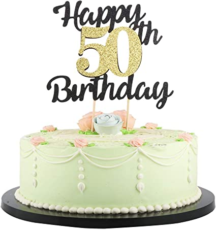 Tremendous Lveud Happy Birthday Cake Topper Black Font Golden Numbers 50Th Personalised Birthday Cards Bromeletsinfo