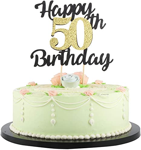 Strange Amazon Com Lveud Happy Birthday Cake Topper Black Font Golden Personalised Birthday Cards Veneteletsinfo