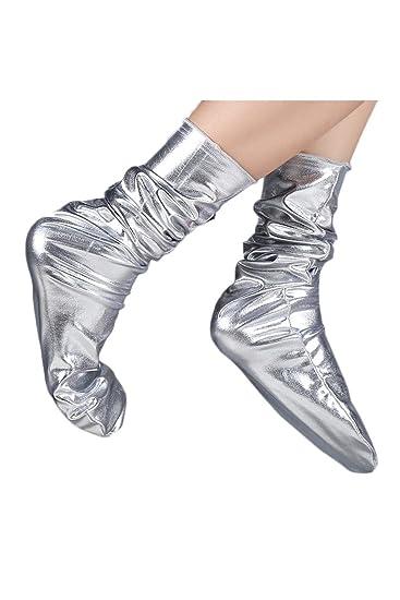 Zojuyozio Mujer Otoño Invierno Nightclub Calcetines Chic Moda Reflectante Brillante Accesorio De plata One Size: Amazon.es: Ropa y accesorios