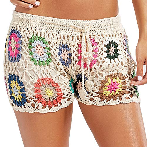 Womens Casual Shorts Cotton Crochet Lace Shorts Beach Summer Miniskirts - Crochet Lace Embroidered