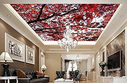 Pittura Per Soffitti Cucina : Lqwx custom 3d murali a soffitto foglie di acero 3d camera paesaggio
