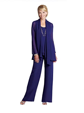 e921f9fc Kelaixiang Blue Chiffon Mother of The Bride Pant Suits with Jacket 3 PCS (2)