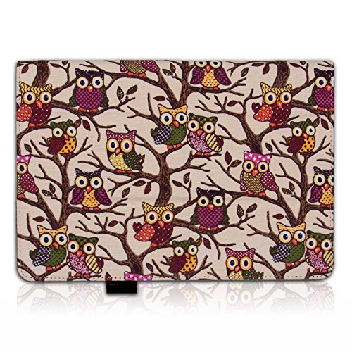 Thankscase ASUS MeMO Pad 10 ME102A Case Cover Built-in Elastic Hand Strap slim Lightweight Smart Owls Canvas Case Smart Cover for ASUS MeMO Pad 10.(Beige Owls)