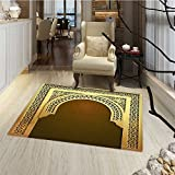 Moroccan Floor Mat for kids Middle Eastern Ramadan Greeting Scroll Arch Figure Celebration Holy Eid Theme Bath Mat Bathroom Mat with Non Slip 30''x48'' Golden Brown