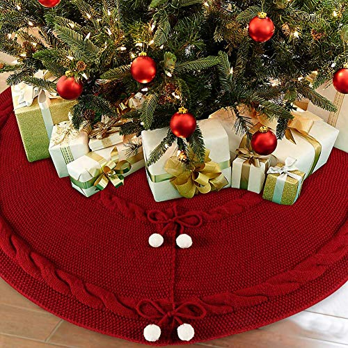 AerWo 48inch Deep Red Christmas Tree Skirt, Thick Luxury Knit ChristmasTreeSkirt, Double Layers Rustic Christmas Tree Skirt Ornament with 6 Snowballs for Christmas Xmas Tree (5 ft to 7ft)