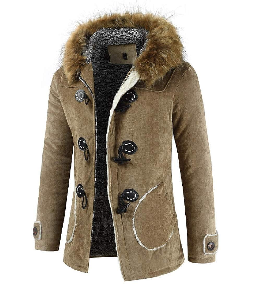 XQS Mens Faux Fur Hooded Down Jacket Warm Winter Jackets Coats