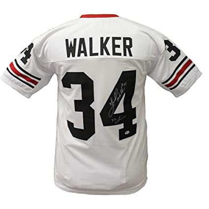 ae2ed4a30 Herschel Walker Georgia Bulldogs Autographed Signed Custom White Jersey  with 82 Heisman Inscription - Beckett Certification