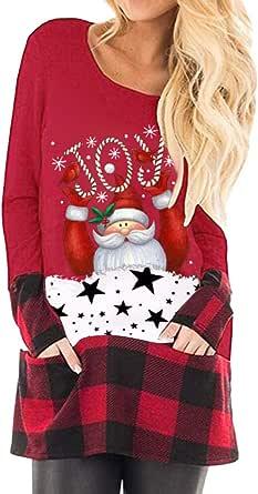 MORCHAN - Camisa de Manga Larga para Mujer de Navidad
