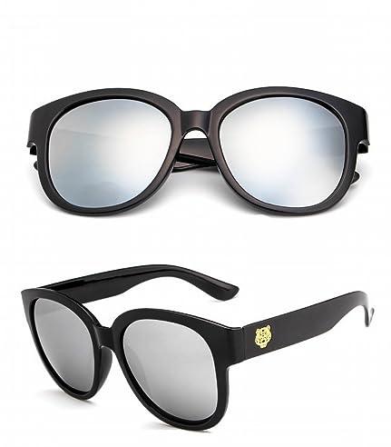 Mode Sonnenbrille Große Rahmen Frau Sonnenbrille Helles Schwarz-Weiß-Quecksilber gNR0PcMA51