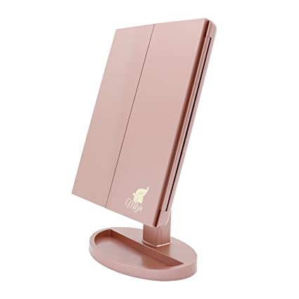 Milzie Makeup Vanity Mirror With 44 Natural White Led Lights, 3x/5x/10x Magnification Lighted Makeup Mirror, Extra Large Unique Tri Fold Design With Touch Screen, Countertop Cosmetic Mirror, Rose Gold. by Milzie