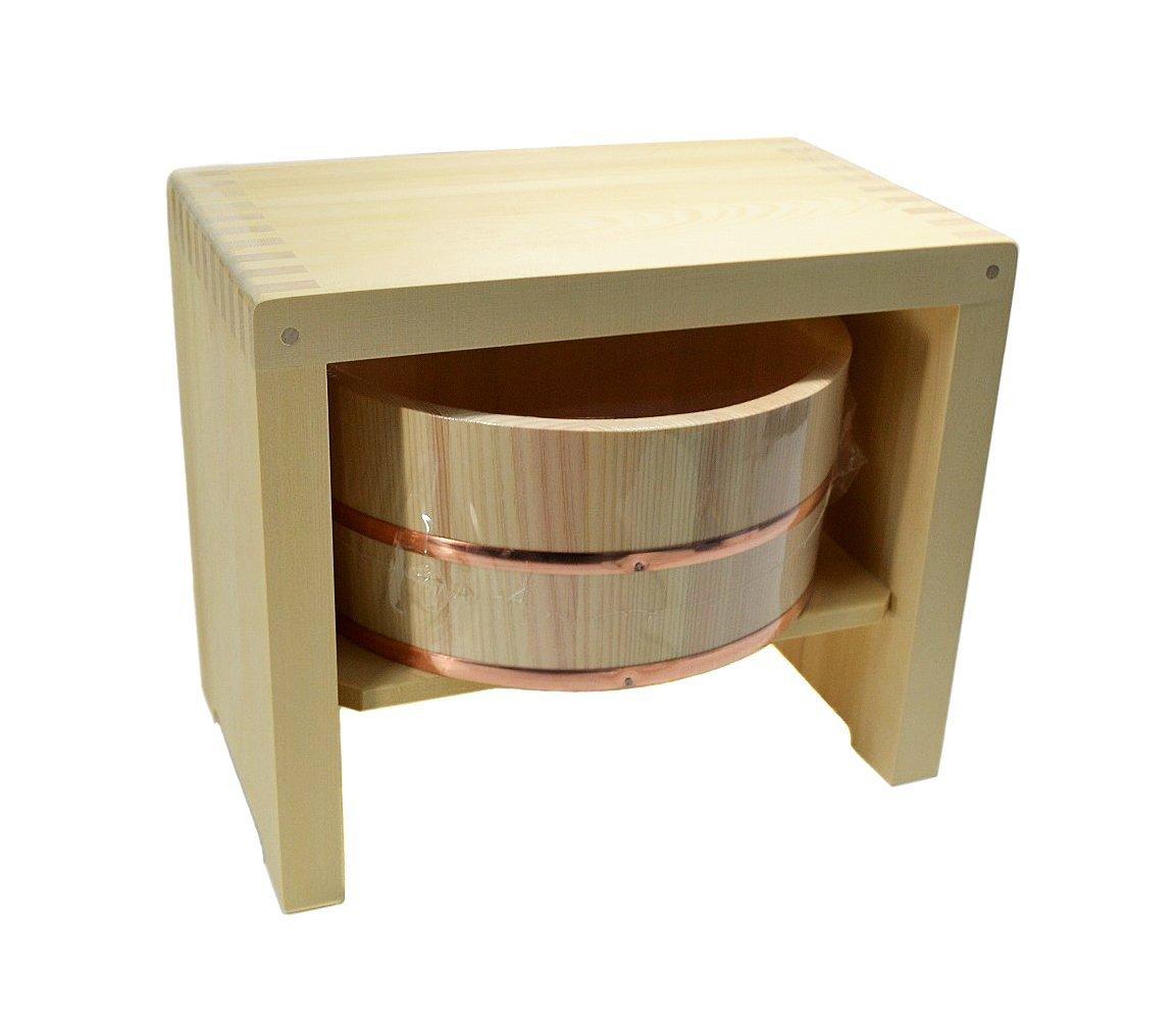 Japan Hiba Wood Bath Stool & Hinoki Pure Wood Bath Bucket Set (Large ...