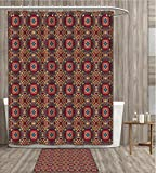 Vintage Shower Curtain Waterproof Retro Bohemic Colorful Arabian Ethnic Eastern Image with Vivid Colored Details Fabric Bathroom Decor Set with Hook 36x72 inch Multicolor gift bath rug