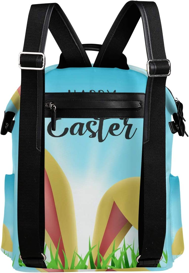 Happy Easter Bunny Rabbit Ears Backpack for Women Men Girl Boy Daypack Fashion Laptop Backpack School College Hiking Travel Bag Bookbag Schoolbag