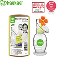 Haakaa Breast Pump Manual Breast Pump Silicone Pump Milk Saver with Suction Base and Flower Stopper Combo 100% Food Grade Silicone BPA Free (100ml) (Orange)