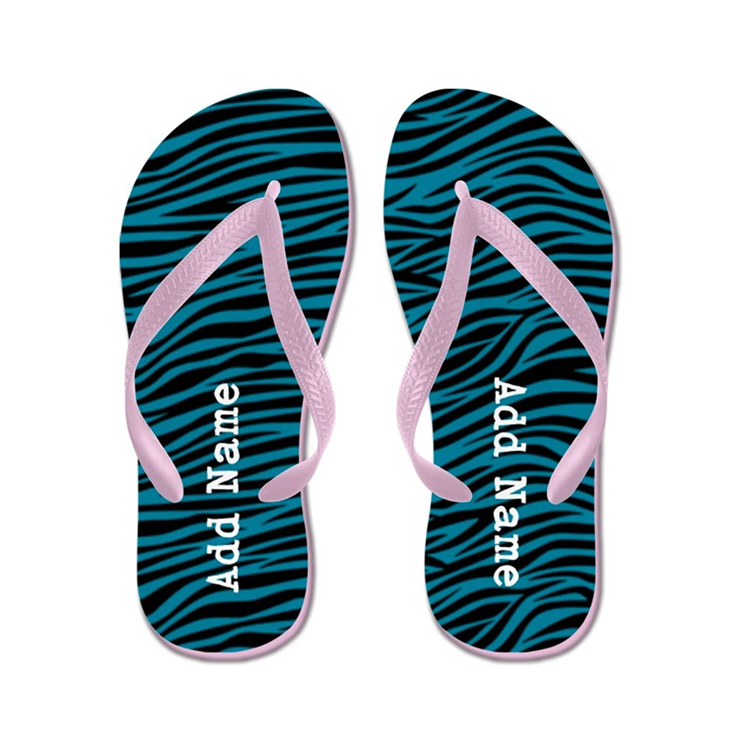 873b26e14cad57 Lplpol Personalizable Customized Zebra Stripes Teal Flip Flops for Kids and  Adult Unisex Beach Sandals Pool