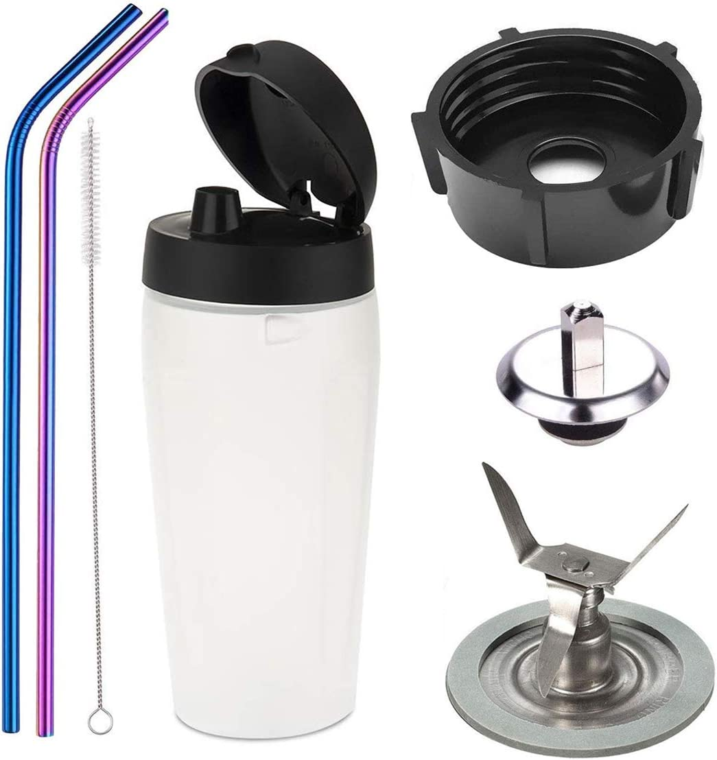 Bottle cup with lid and 4-Point Blade with Sealing Ring Gasket Blender 4902 Blender Jar Bottom Coupling Stud Pin Stainless Steel Straw Cleaning Brush Kit For Blender Blend-N-Go Smoothie Kit