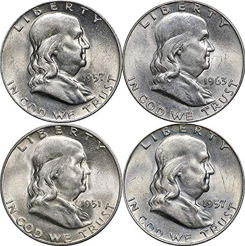1948-1963 Franklin Silver Half Dollars, 2 Face, 4 Coins, Random Years AU-BU