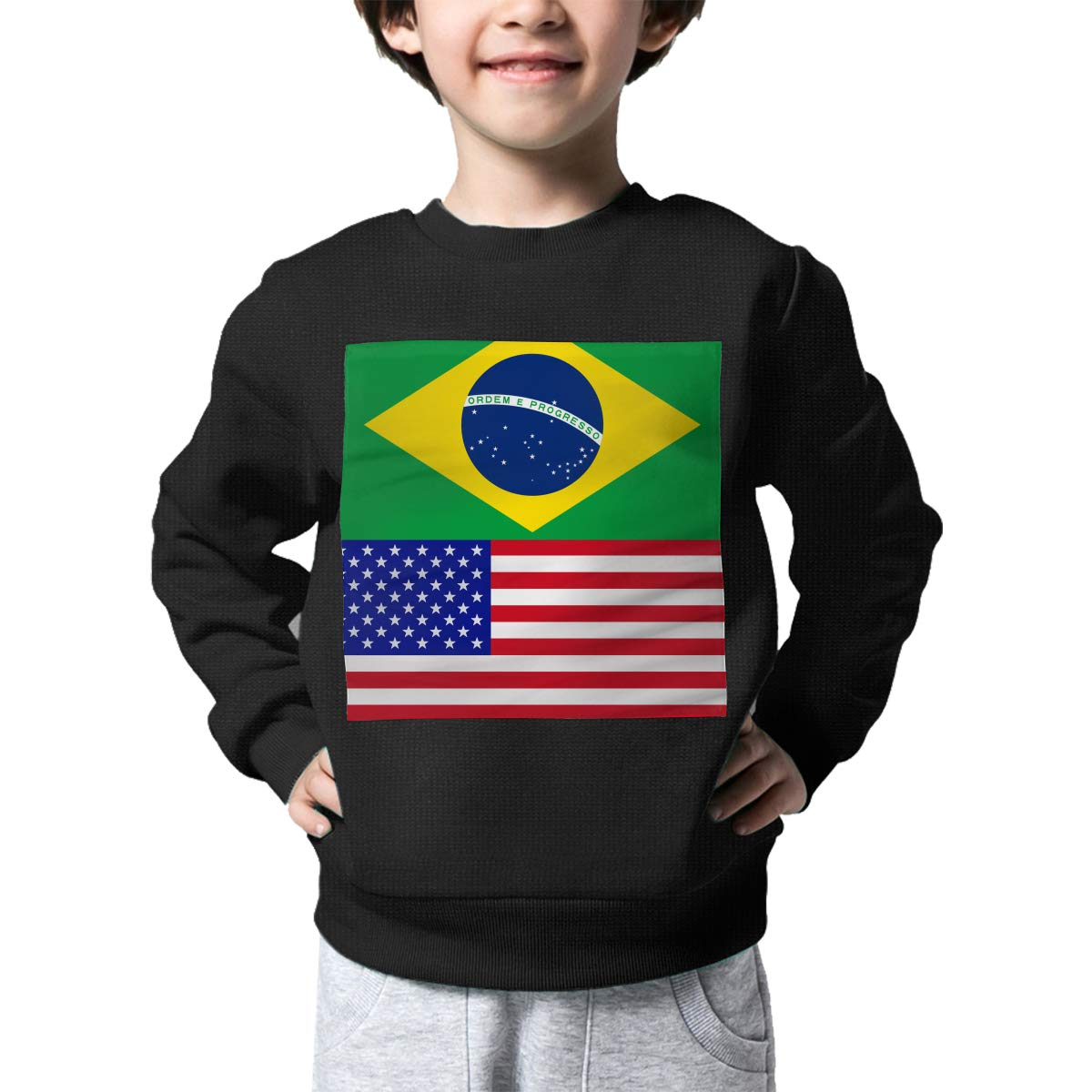 NJKM5MJ Boys Girls Brazil-American Proud Lovely Sweaters Soft Warm Unisex Children Kids Sweater