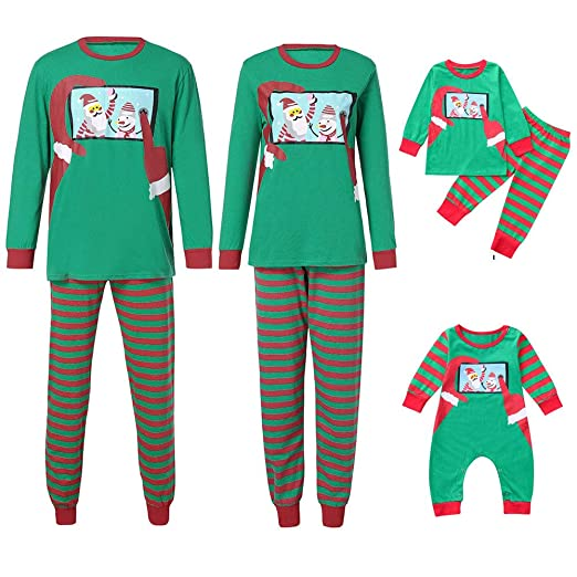 df68e25904 Amazon.com  Family Matching Pajamas Sets Christmas Pajamas Outfit Santa  Striped Holiday Clothes PJ Sets Mom Dad Kids Sleepwear  Clothing