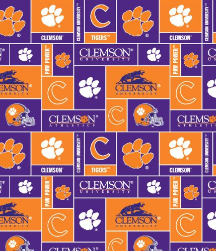 College Clemson University Tigers Print Fleece Fabric By the Yard (Tigers Fleece Fabric)