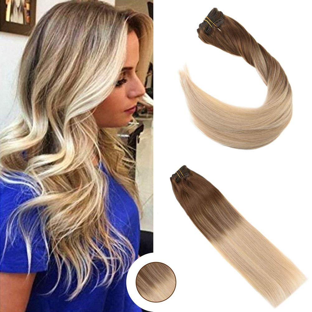 Ugeat 14inch Balayage Ombre Color Clip In Hair Extensions Medium Brown 4 Ombre Color Light Blonde 60