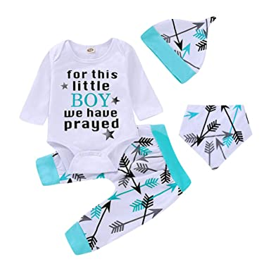 Baby For This Little Boy We Have Prayed Printed Top Pants Hat 3pcs Outfits ND