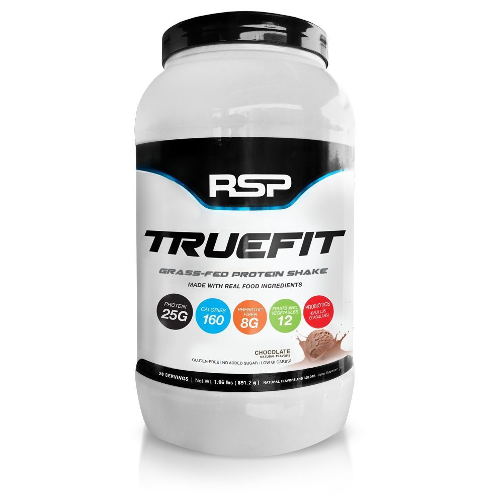 RSP TrueFit (New) - Natural, Grass-Fed Lean Meal Replacement Protein Shake, All Natural Whey Protein with Fiber & Probiotics, Gluten-Free & No Artificial Sweeteners, 2LB (Chocolate)