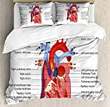 Educational Bedding Sets, Medical Structure of the Hearts Human Body Anatomy Organ Veins Cardiology, 4 Piece Duvet Cover Set Quilt Bedspread for Childrens/Kids/Teens/Adults, Coral Red Blue,Twin Size