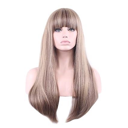 Mengonee Muchachas de las mujeres con pelucas sintéticas Bangs mezcla de color rubio recta larga peluca