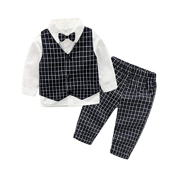 eddbe79e3165 Fairy Baby Boys Outfit 4pcs Clothes Set Formal Suit Cotton Bowtie ...