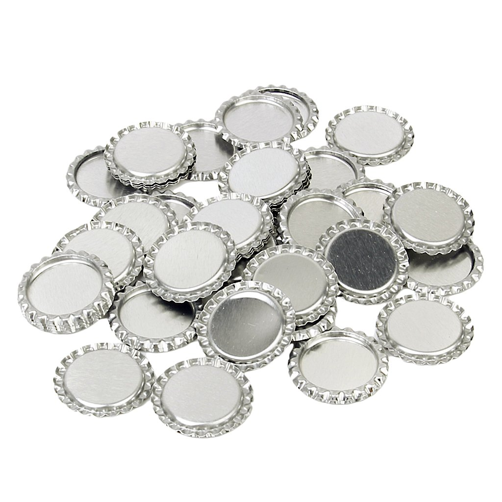 Approx.100pcs 1 Inch Bottle Caps Craft Flattened Silvery Generic BHBA313