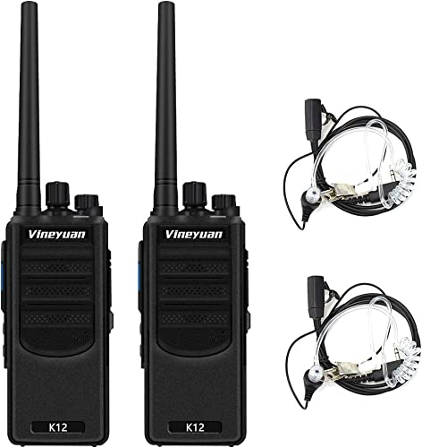 Vineyuan K12 Long Range Rechargeable Walkie Talkies 2 Pack – Up to 7 Miles Distance,12W 6800mAh Two Way Radios for Construction Team Camping Adventures Cruise Ship
