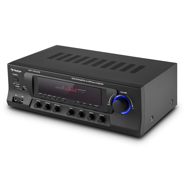 auna AMP-3800 USB Black Edition - Receptor HiFi , Receptor Surround 5.1 , Amplificador Home-Cinema , 600W , 2 entradas micrófono , USB SD FM , ...