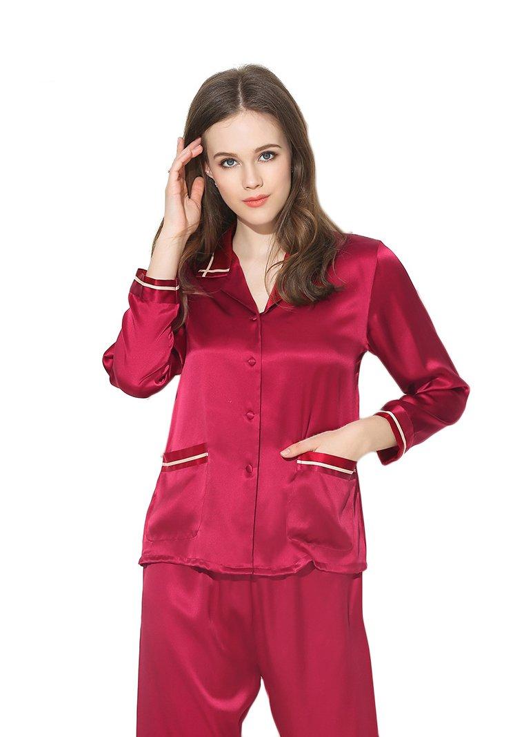 Women's Sleep Sets Pure Silk Nightwear Summer Nightclothes Burgundy S