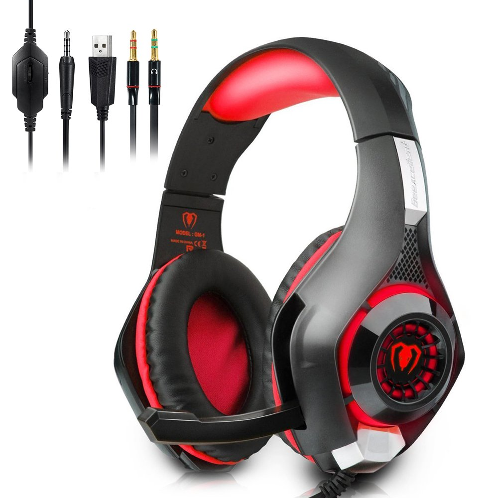 Megadream 3.5mm PS4 Gaming Over-Ear Headphone with Microphone and Volume Control, Leather Earmuff, Flexible Headband, LED Stereo Headset for Playstaion 4 Xbox One Macbook Laptop PC Tablet Phones – Red