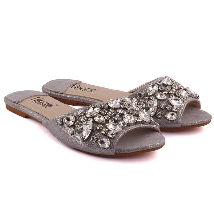 Unze New Women Damen Emilio Kristall Diamante geschmückt Peep-Toe Niedrigen Ferse Abend, Hochzeit, Prom & Party Pump Flache Schuhe Größe 3-8 - 7015-8 Unze