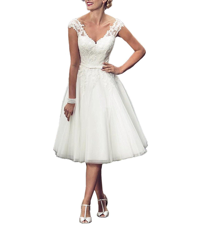 DreamyDesign Traumhaft A-Linie V-Ausschnitt Tüll Hochzeitskleid ...