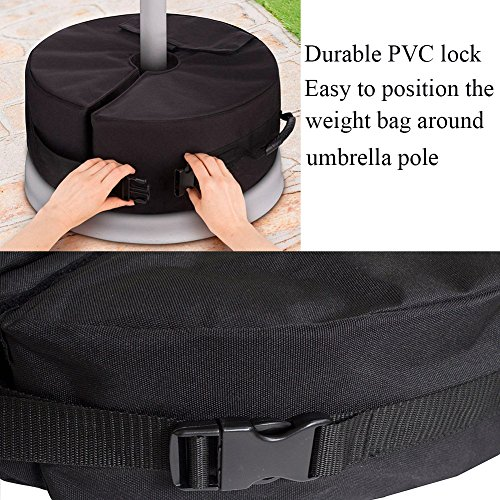 "18""Round Umbrella Base Weight Bag with Big Opening, VOLMON Detachable Umbrella Weights Sand Bags for Pole, Base for Patio Beach Offset Cantilever & Standard Outdoor Umbrellas, Easy to Fill and Install by VOLMON (Image #4)"