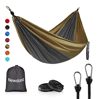 "Newdora Camping Hammock with Tree Straps Portable Lightweight Nylon Hammock, Parachute Double Hammock for Backpacking,Camping,Travel,Beach,Yard.105(L) x 56""(W).(Dark Grey & Khaki): Sports & Outdoors"