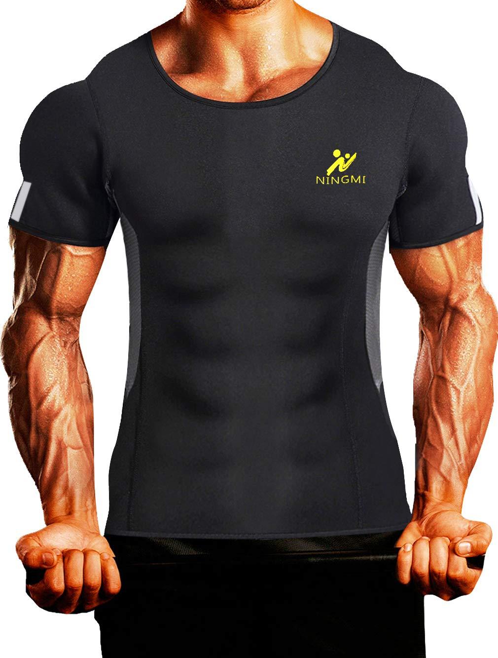 NINGMI Mens Waist Trainer Vest Hot Sweat Shirt Neoprene Sauna Suit Workout Body Shaper Cami for WeightLoss Tummy Fat Burner Black