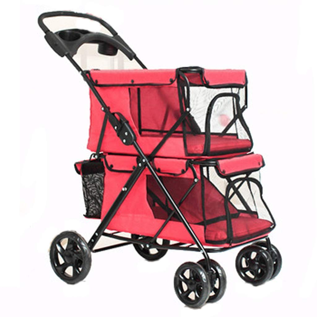 Red Pet Stroller Lightweight Folding Double Pet Stroller Dog Pet Stroller Cat Cage Four Wheel Outdoor Travel (color   Red)