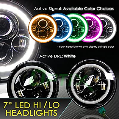 """Optix 120W Total 7"""" Inch Round CREE LED Headlights Angel Eyes Full Halo Color Switchback DRL Fits H6024 97-15 Jeep Wrangler Hummer Land Rover"""