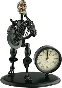 2 in 1 Balck Iron Art Nut and Bolt Skull Music Man Figure Elegant Unique Western Style Clock Watch ~Home Office Desk Decor Gift (A05612 Small Horn)