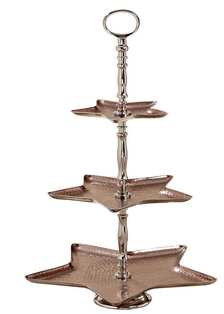 Metall Etagere - Kupfer - Landhaus Konfekt- Gebäckschale Schale 3er H 52cm