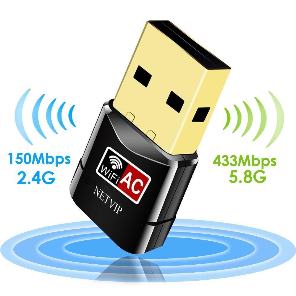 USB Wifi Dongle,NETVIP Wireless Network Adapter AC600 802.11ac/n/g/b Dual Band (5.8GHz 433Mbps/2.4GHz 150Mbps),for PC/Desktop / Laptop/Tablet, Supports Windows XP/7/8/10/ Vista (32/64bits) / Mac