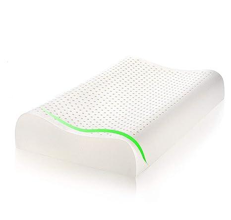 MaxHome Almohada de Látex Natural, AplusT Ortopédica y Terapéutica diseñada para Reducir Dolor de Cuello Cervical y Espalda. Se Adapta a la Forma del ...